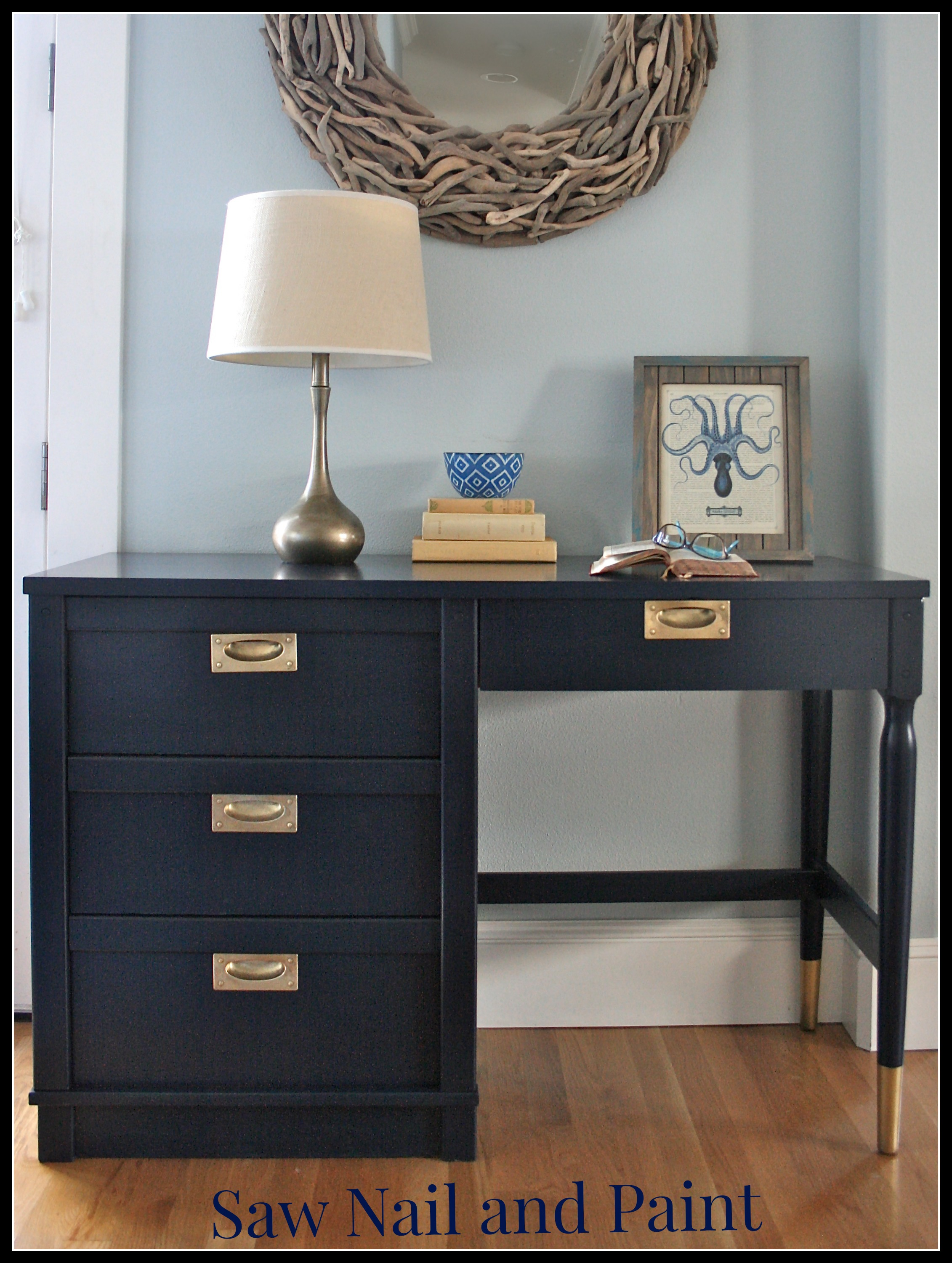 Coastal Blue Desk Saw Nail And Paint