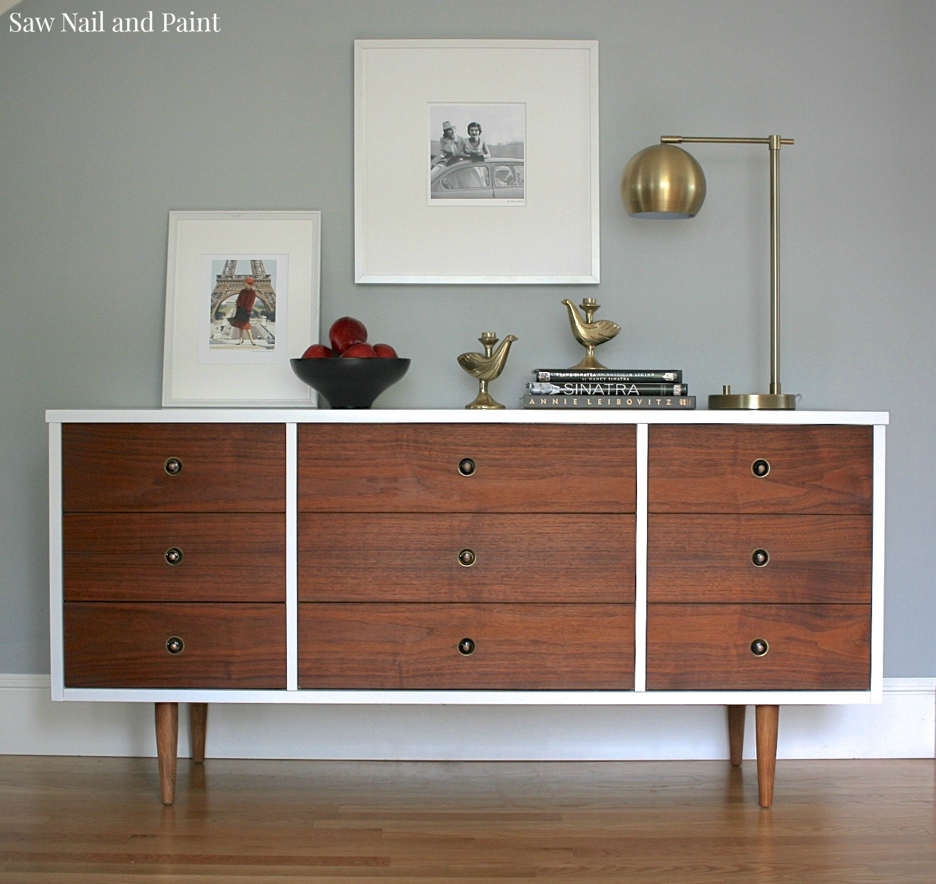 Bassett mid century dresser makeover saw nail and paint for Bedroom furniture makeover