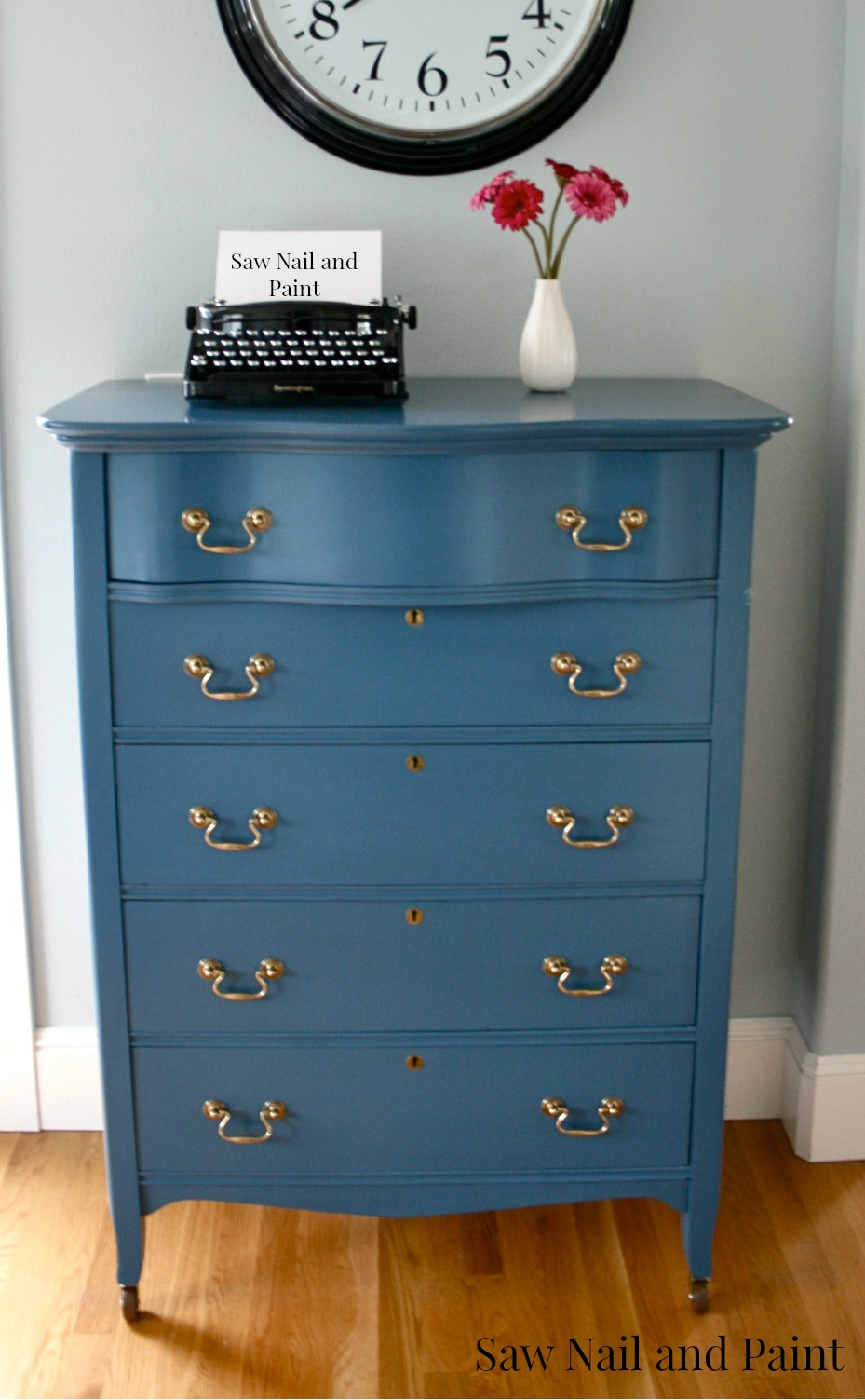 Vintage Blue Serpentine Dresser Saw Nail And Paint