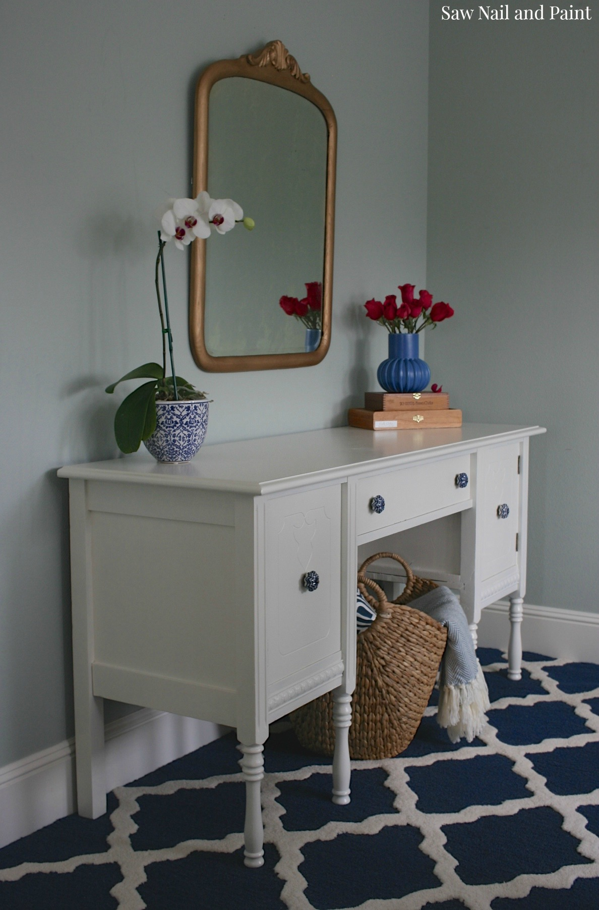 White Buffet With Blue Knobs Saw Nail And Paint