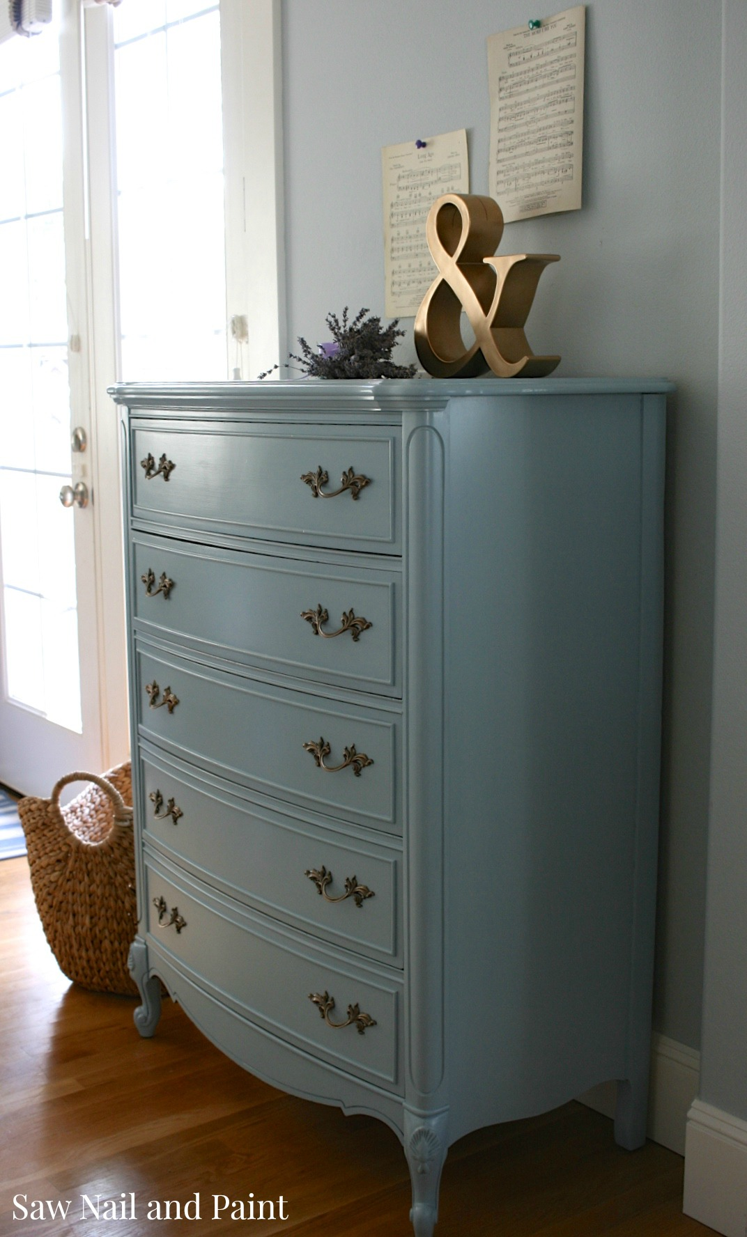 French Provincial Dixie Dresser In French Blue Saw Nail And Paint