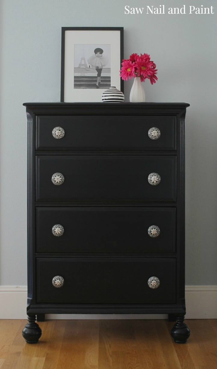Vintage Chest In Lamp Black Saw Nail And Paint