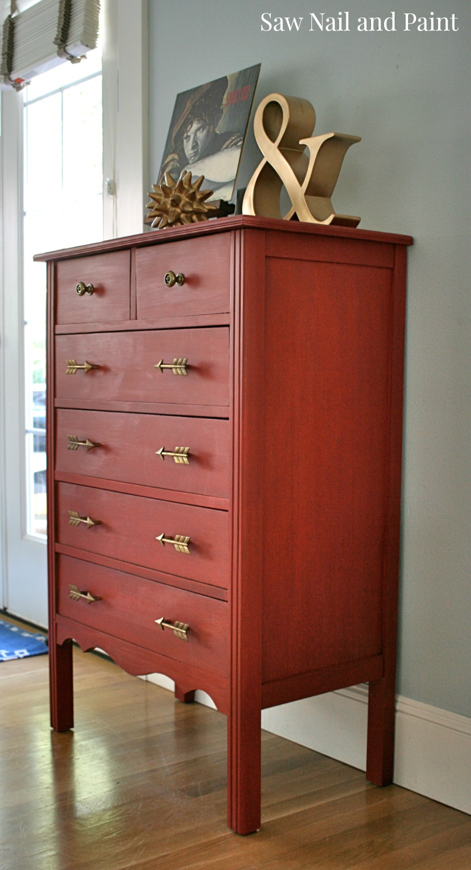 Simply Red Dresser With Arrow Pulls Saw Nail And Paint