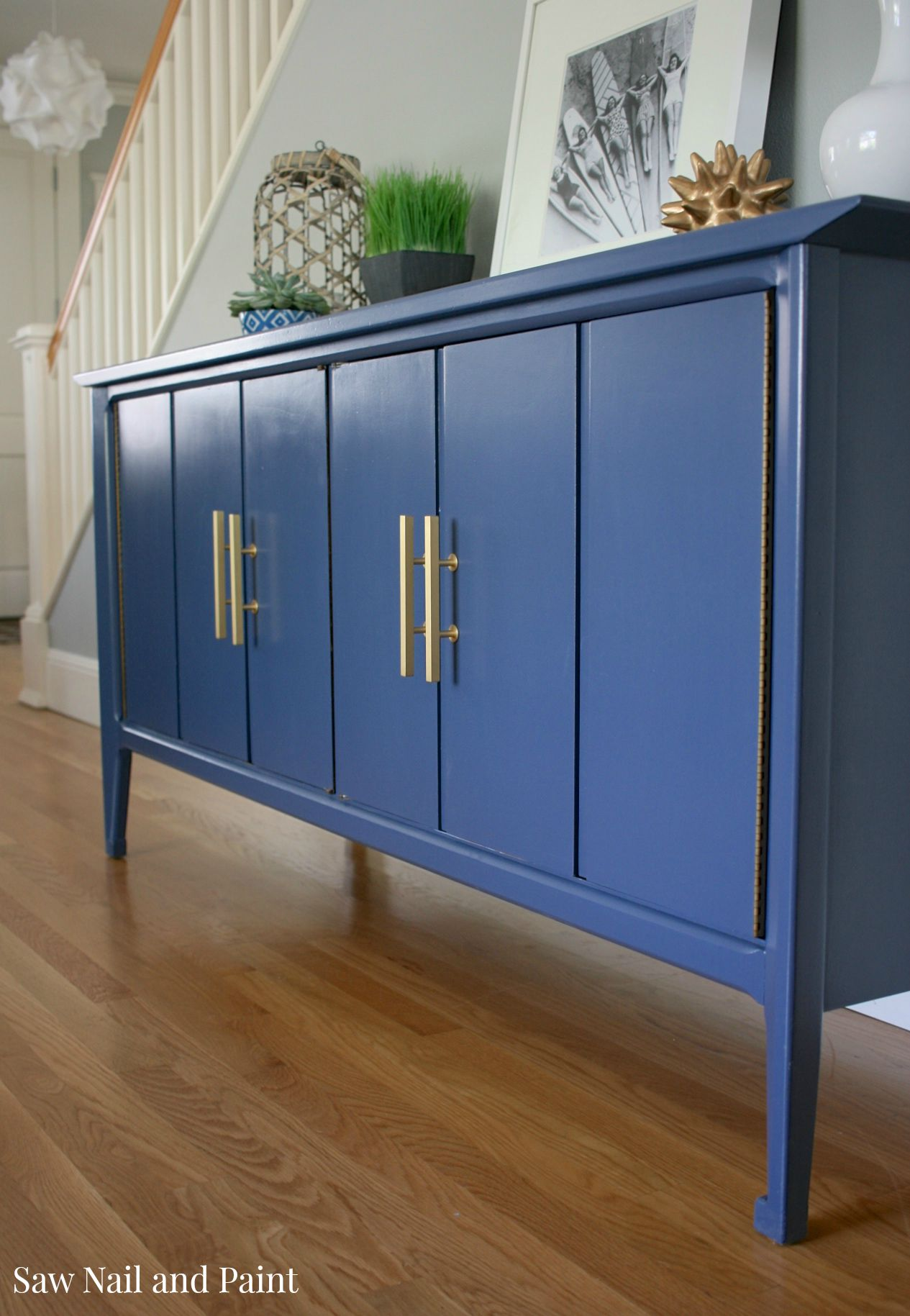 Indigo Blue Mid Century Buffet Saw Nail And Paint