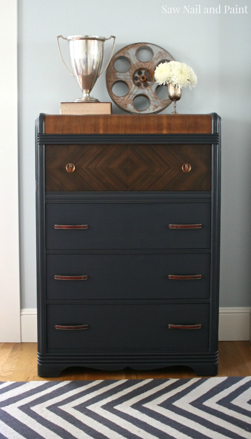 Charcoal Gray Waterfall Dresser Saw Nail And Paint