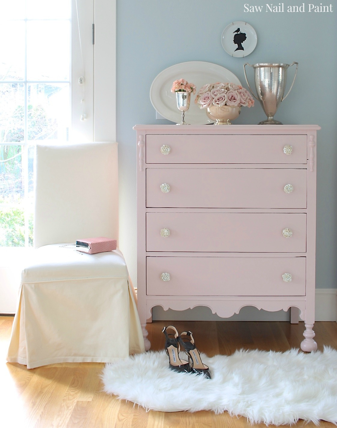 Blush Pink Vintage Dresser Saw Nail And Paint