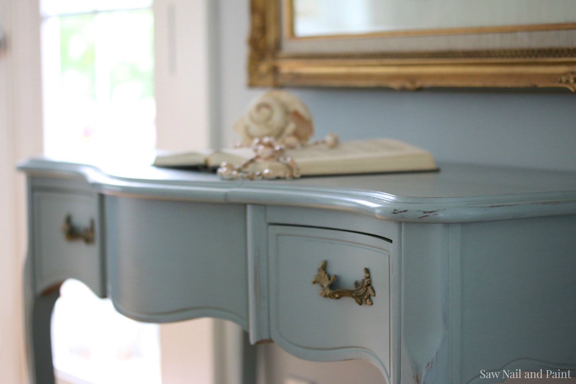 French Provincial Vanity In Elegance Side Close Up Saw Nail And Paint