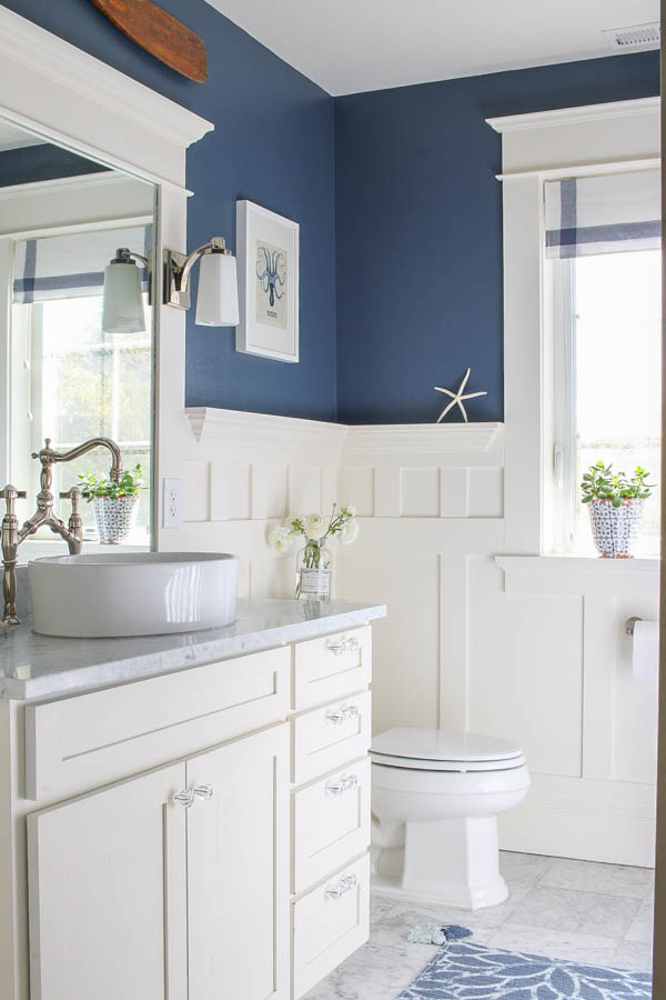 Navy Blue and White Marble Bathroom