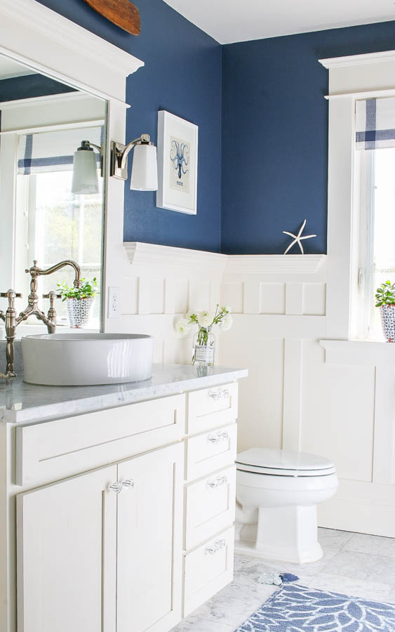 Saw Nail Paint Seattle Cottage Home Tour - Bathroom Remodel White Board Batten Bridge Faucet Marble