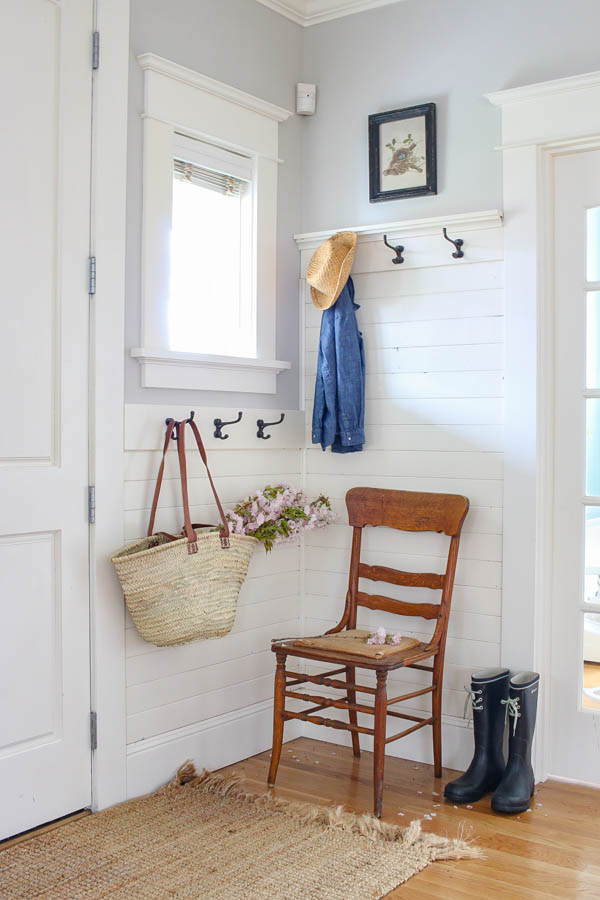 Saw Nail Paint Seattle Home Tour - Cottage Farmhouse White Shiplap Wainscoting Entryway