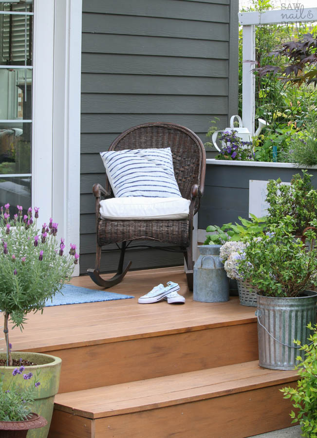Saw Nail Paint Seattle Cottage Home Tour - Porch Lavender Topiary Wicker Rocking Chair
