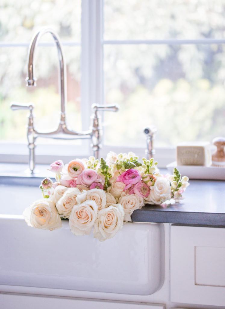 Saw Nail Paint Seattle Cottage Home Tour - White Kitchen Sink, Bridge Faucet, Pink Flower in Farm Sink