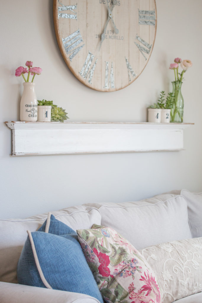 Saw Nail Paint Seattle Cottage Home Tour - Living Room, Charming Wood Wall Clock, Shelf
