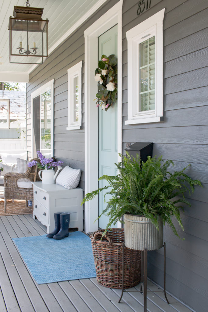Saw Nail Paint Seattle Home Tour - Front Porch Benjamin Moore Wythe Blue Front Door Grey Siding Carriage Chandelier