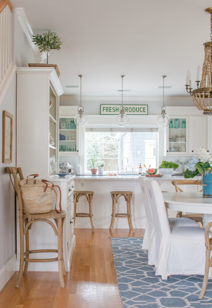 Saw Nail Paint Seattle Home Tour - Cottage Farmhouse White Kitchen Dining Set Slip-covered Parsons Chairs Wood Bead Chandelier
