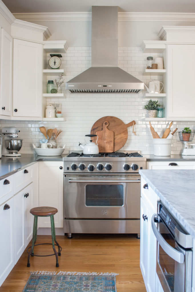 Saw Nail Paint Seattle Home Tour - Cottage Farmhouse White Kitchen, SS Oven Hood, Marble Counter, Subway Tile