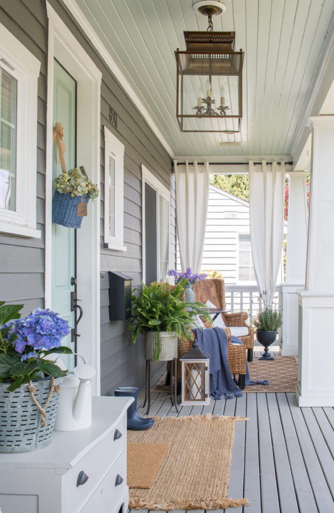 Front Porch With Pottery Barn Bolton Lantern Saw Nail