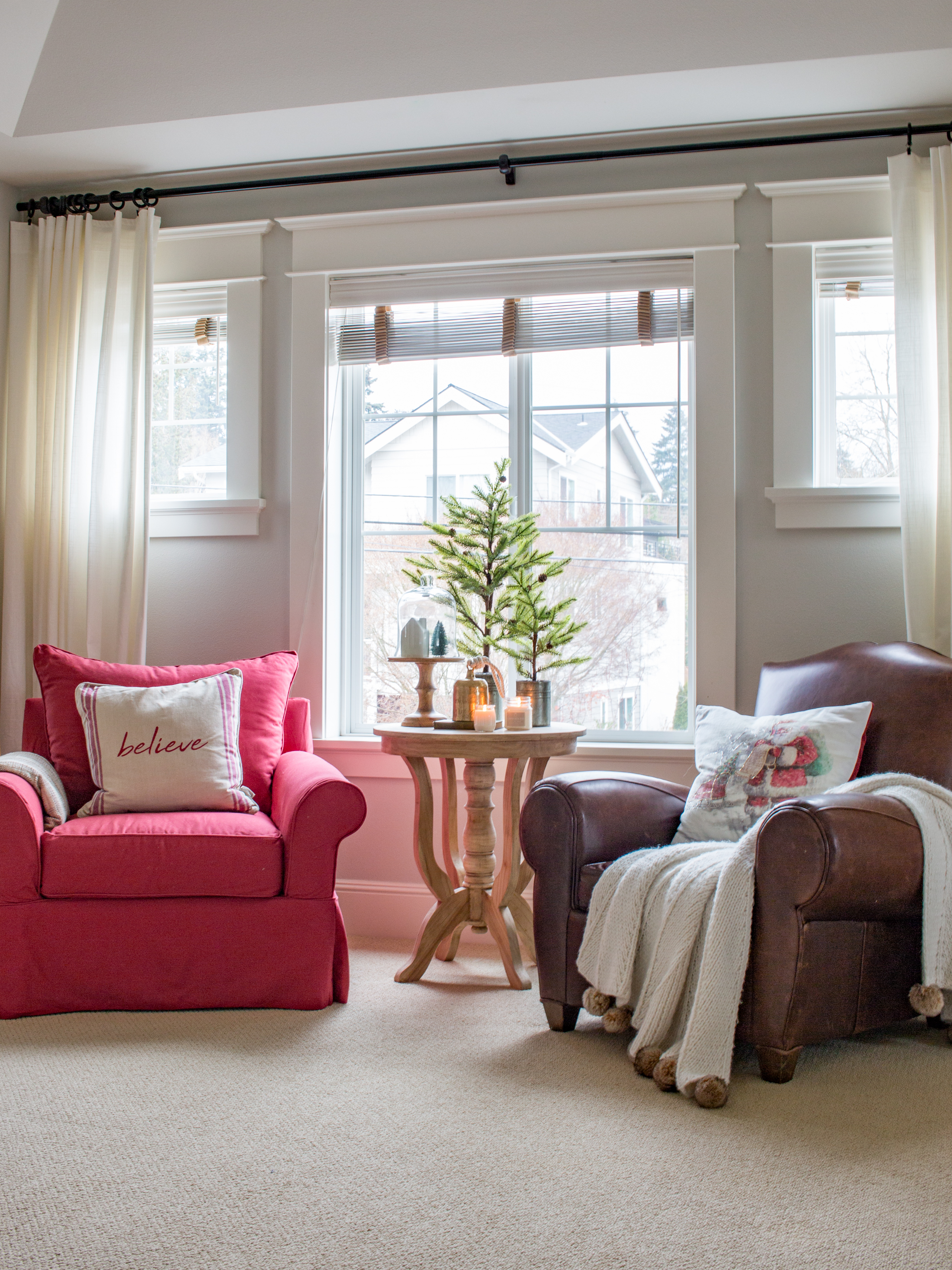 Master Bedroom Sitting Area With Red Chair Saw Nail And Paint