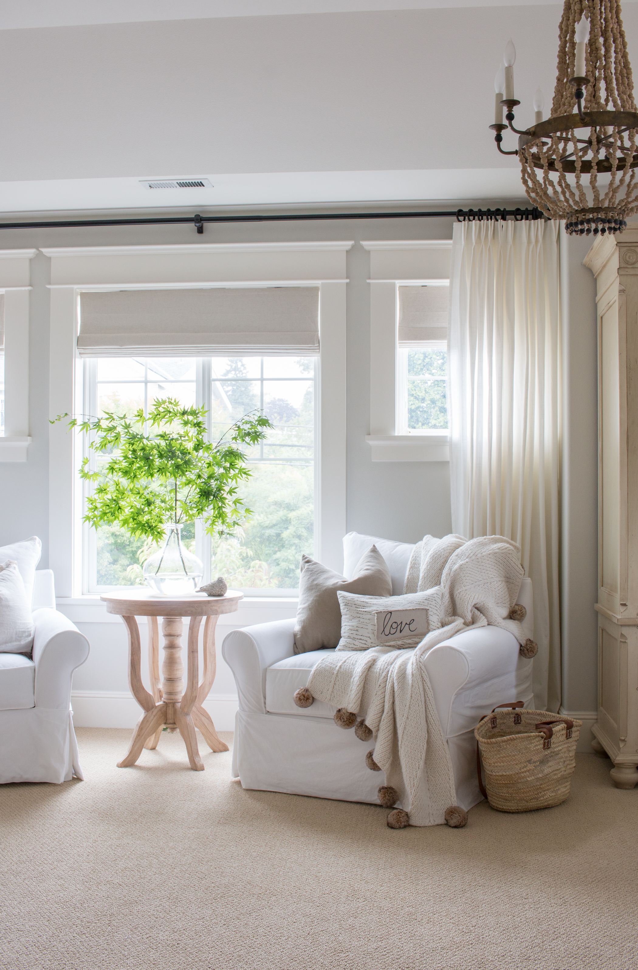 Bedroom Sitting Area With White Chairs